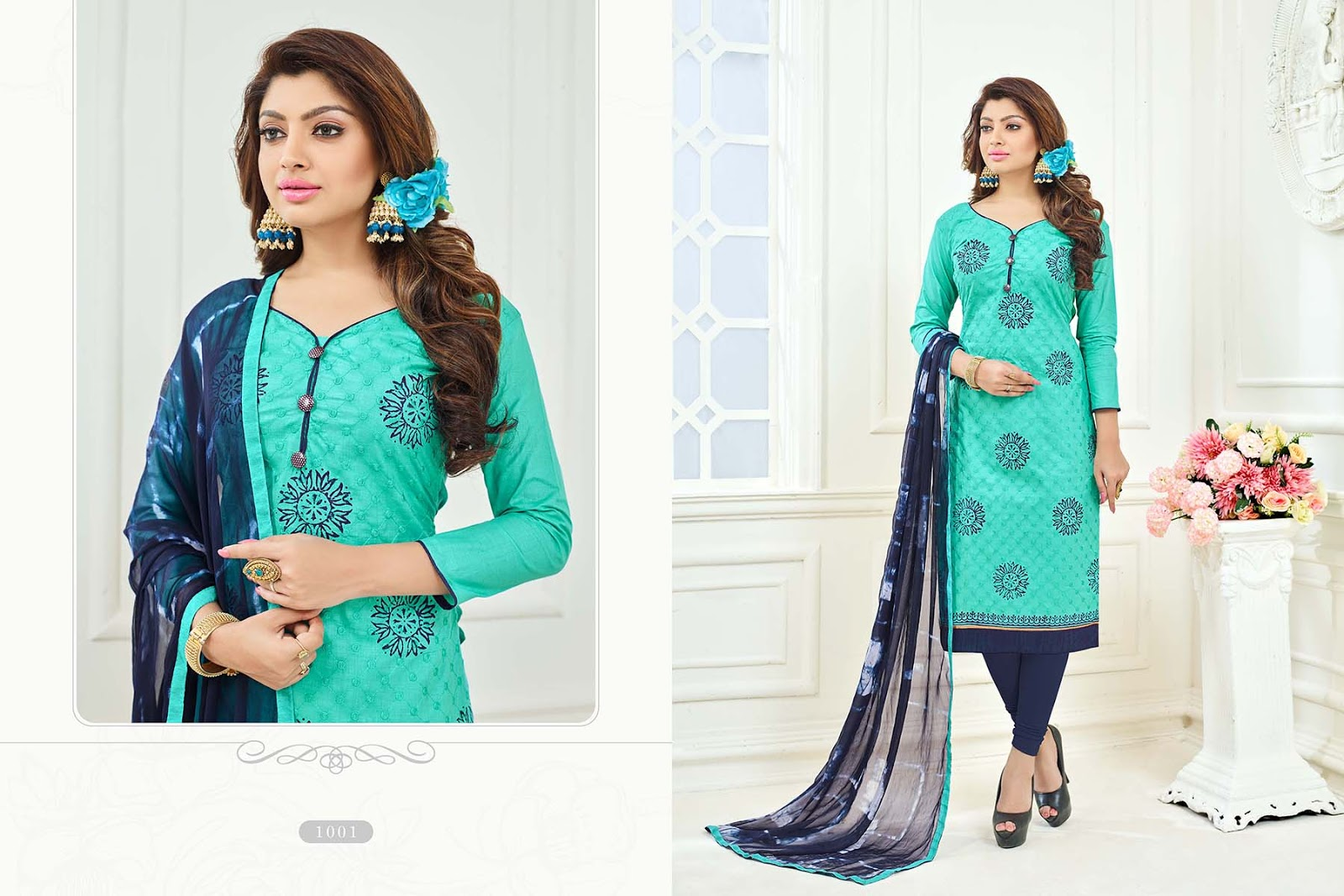 Spring – Buy Online Cotton Work With Printed Dress Material