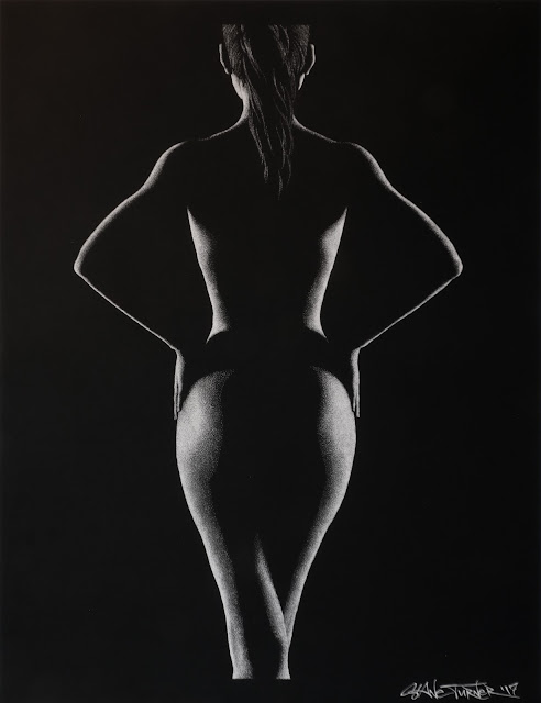 artistic nude Drawing bodyscape of nude figure in black and white shadows on paper, made out of thousands of tiny white dots.