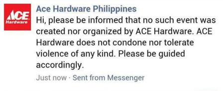 Ace Hardware on Facebook statement