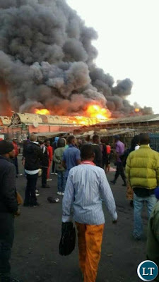 Photos: The biggest market in Zambia razed down by fire