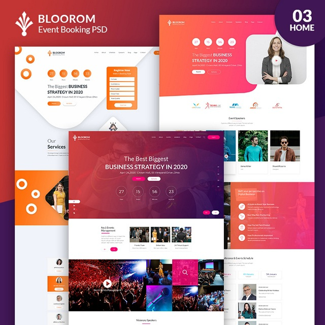 Event booking Website template