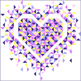Exploding Heart quilt in pinks, purples, and yellows
