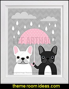 White and Black French Bulldogs with Pink Umbrella wall art