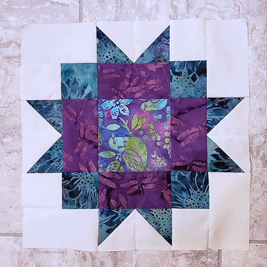 Maple Star Quilt Block Designed By Connie Kresin Campbell of Freemotion by the River