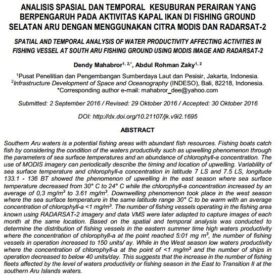 Analisis Spasial dan Temoral  Kesuburan Perairan [Paper]