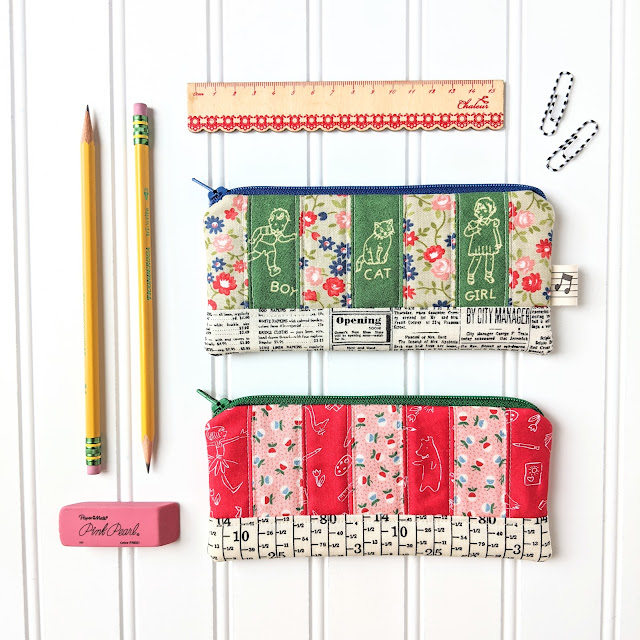 Patchwork Pencil Pouch by Heidi Staples of Fabric Mutt
