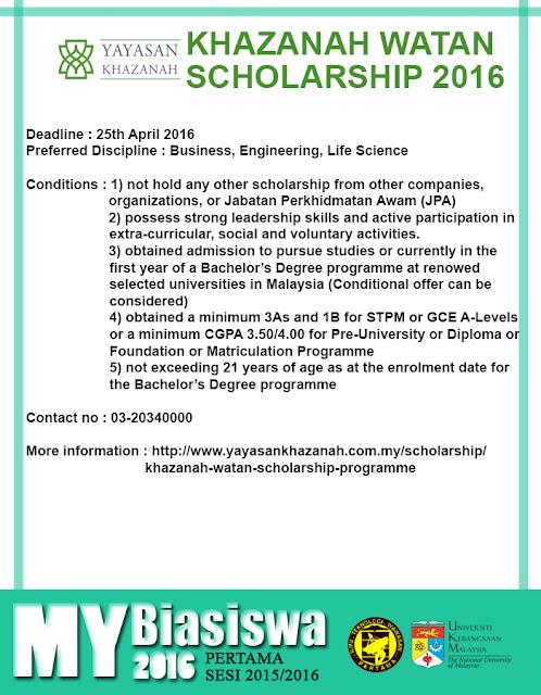 #MyBiasiswa2016 : Khazanah Watan Scholarship 2016 [DEADLINE : 25th APRIL 2016]