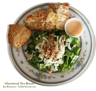 Canadian Bacon and Gouda Quiche with Cheddar Cheese Scone and Salad at Glenwood Tea Room in Shreveport, Louisiana