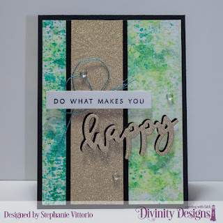 Divinity Designs Stamp/Die Duos: Happy, Mixed Media Stencil: Flower Burst
