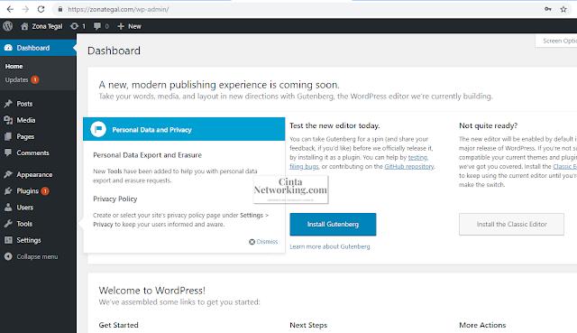 Cara Masuk ke Dashboard WordPress Dengan Mudah - Cintanetworking.com