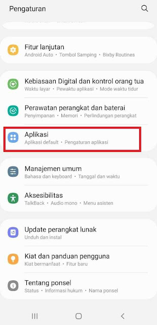 Pilih menu aplikasi/manajer aplikasi