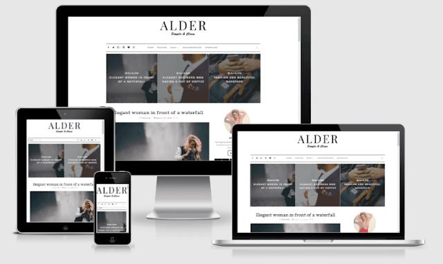 Alder Responsive Clean | Simple Blogger Template | Free Version & Premium Version
