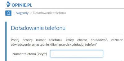 Doładowanie telefonu w panelu Opinie.pl.