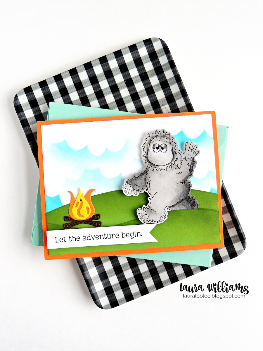 Big Foot themed handmade card idea with stamps from Impression Obsession.