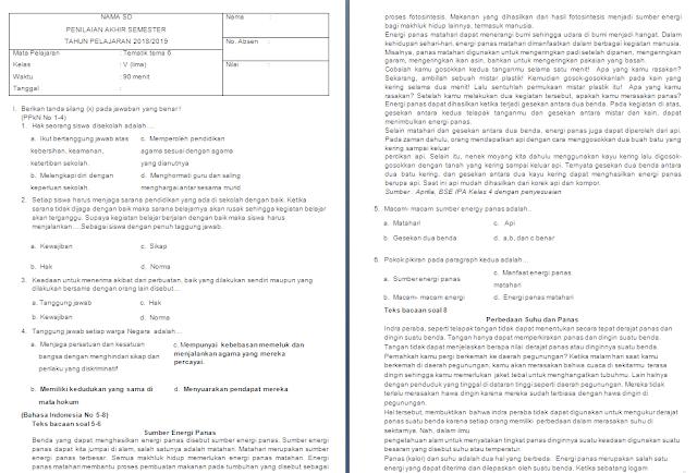 Soal Semester Tema 6 kelas 5 SD/MI
