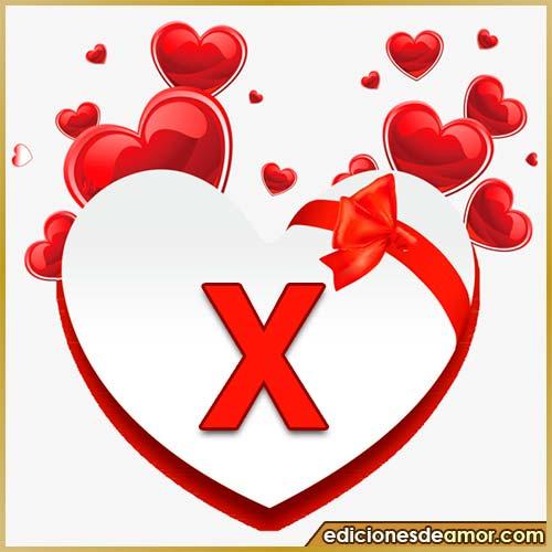 corazones volando con letra X