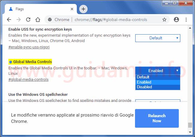 Chrome flags attivare funzionalità Global Media Controls