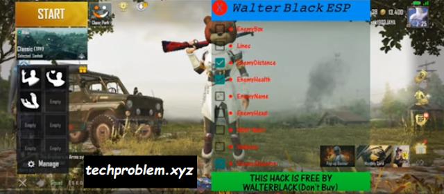 Cheat PUBG Mobile Walter Black ESP v3 Root & No Root