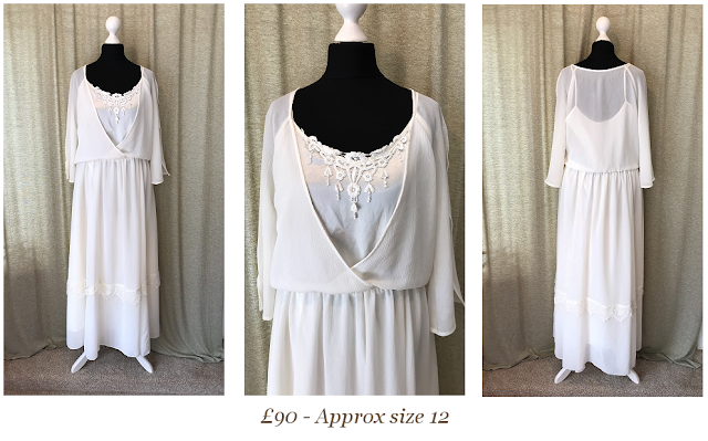 Simple short chiffon boho wedding dress, informal vintage wedding dress available from vintage lane bridal boutique bolton manchester