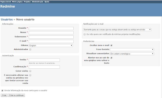 Formulário de cadastro/edição de usuários