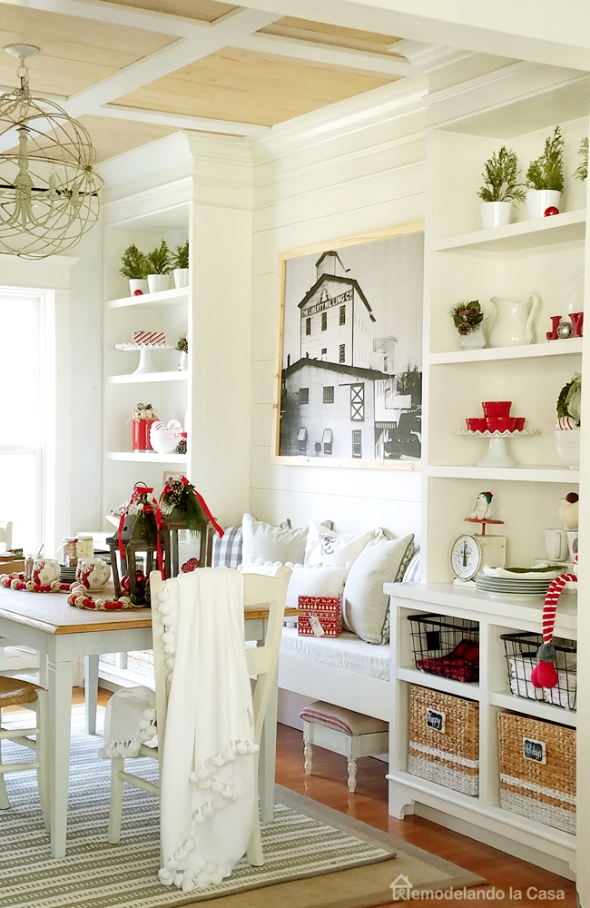 red white dining room shiplap coffered tray ceiling built-in cabinets