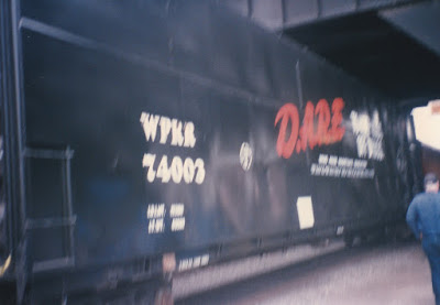 Willamette & Pacific Woodchip Car #74003 at Union Station in Portland, Oregon