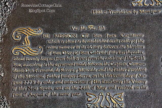 A plaque at the San Juan Capistrano Mission with its history.