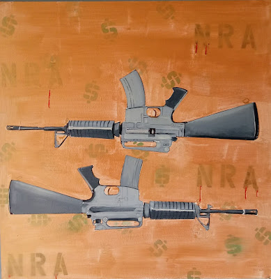 """Gabe Patti, """"AR-15"""" Oil and marker on panel 24"""" x 24"""""""