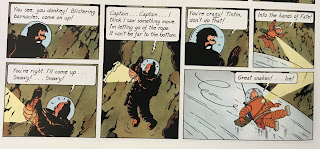 Tintin falls in Explorers on the Moon