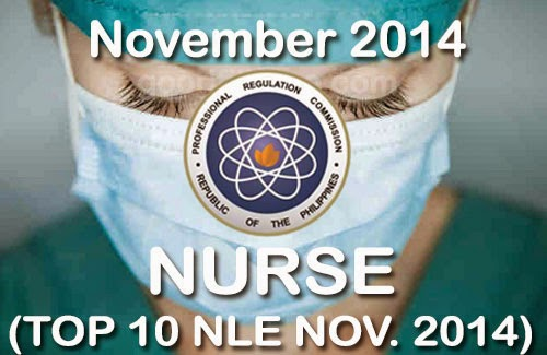 November 2014 Top 10 NLE Passers - Nurses Licensure Exam Topnotchers