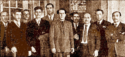 Equipo del Club d'Escacs Gran Cafè Espanyol, en el XIV aniversario