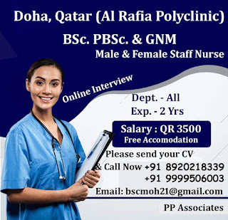 Urgently Required Male and Female Nurses to Al Rafia Poly Clinic, Doha, Qatar