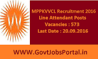 MPPKVVCL Recruitment 2016 for 573 Line Attendants Apply Online Here