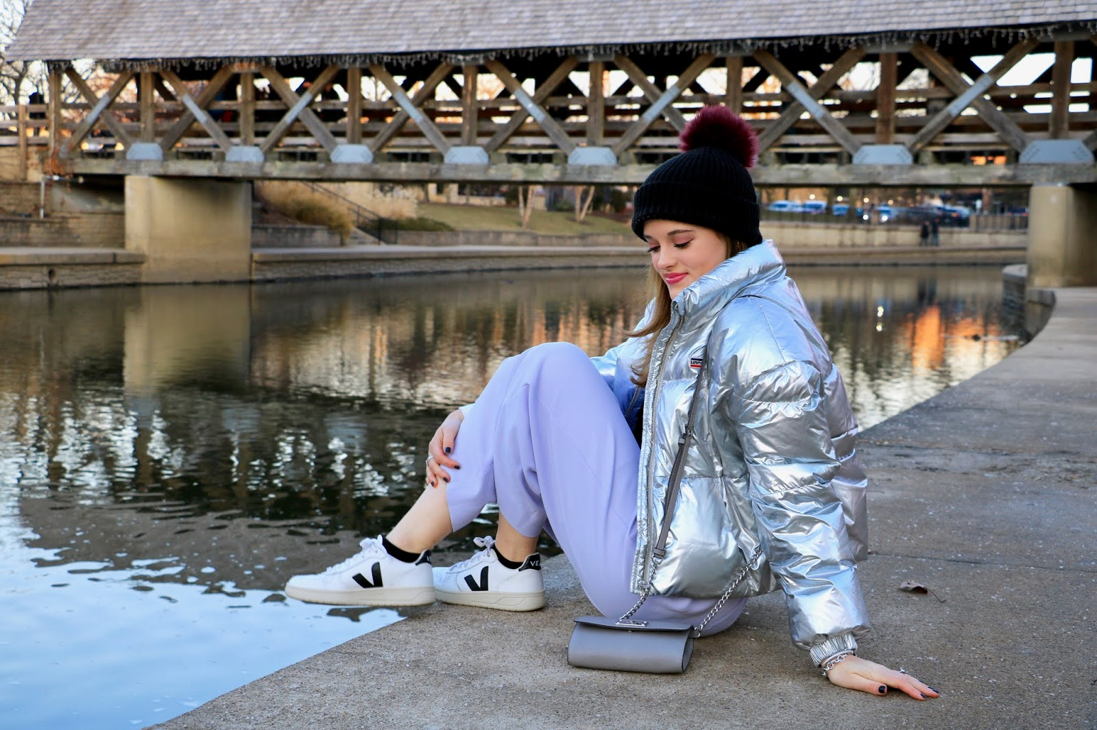 Nyc fashion blogger Kathleen Harper wearing a lavender and metallic winter outfit.