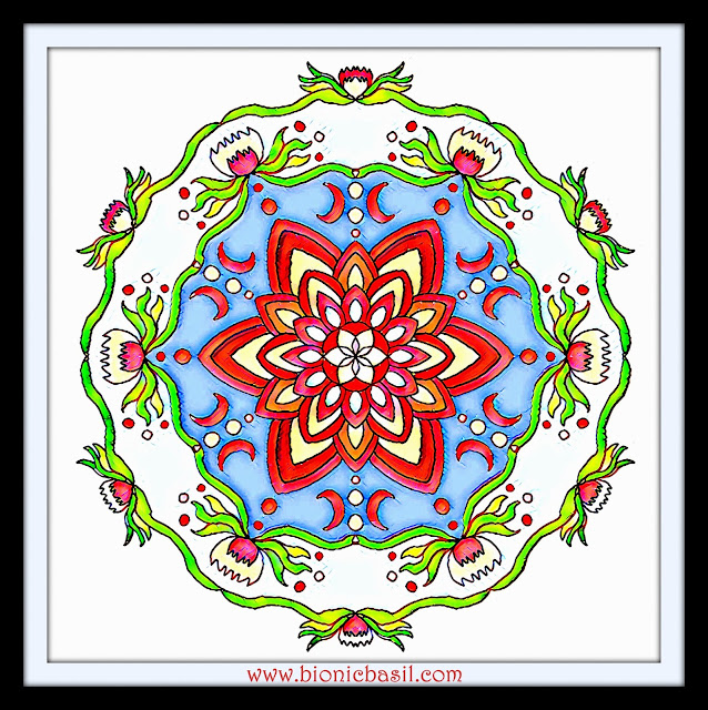 Mandalas on Monday ©BionicBasil® Colouring With Cats Mandala #118 coloured by Cathrine Garnell