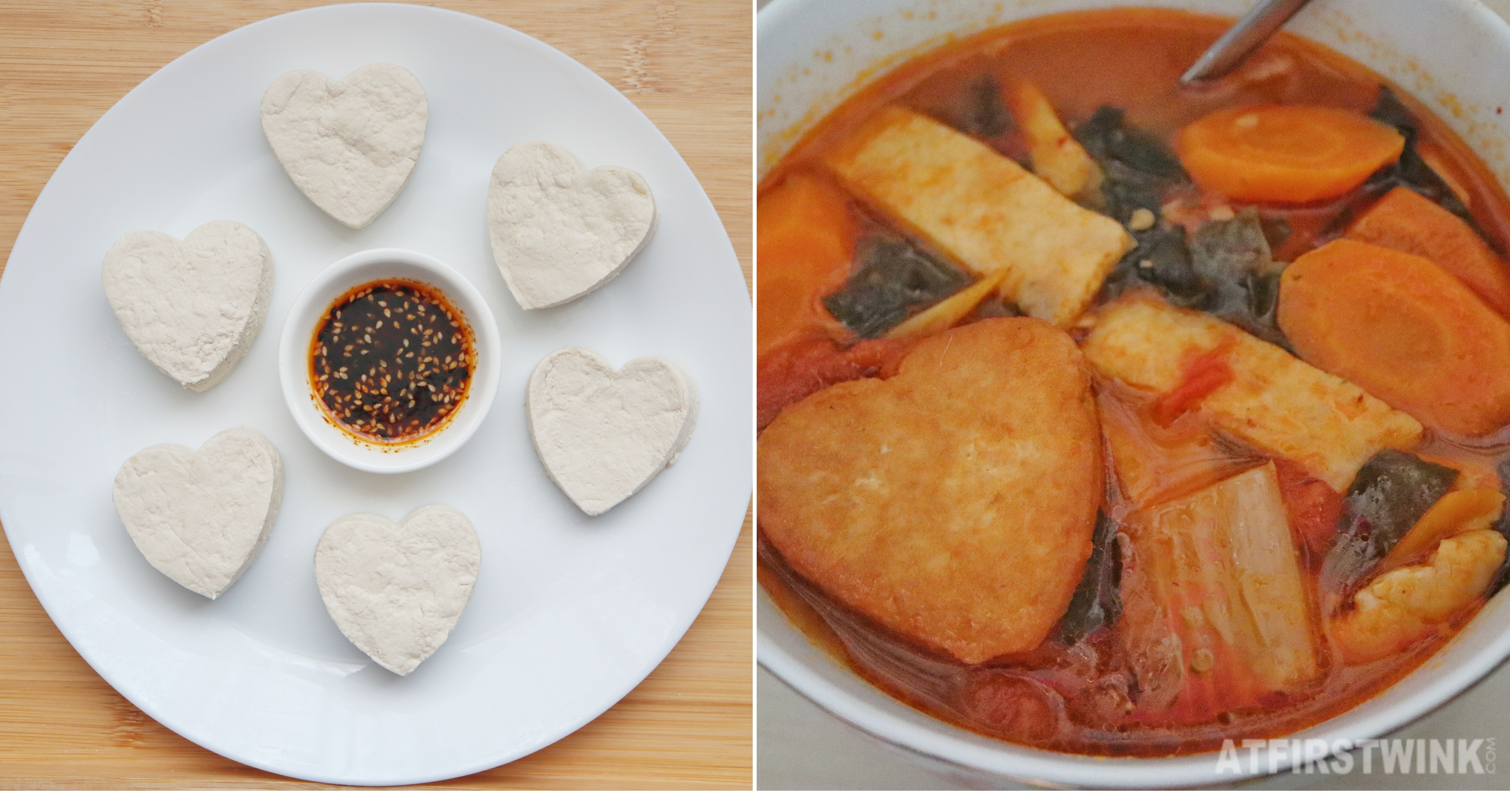 Heart shaped tofu soy sauce based dipping sauce pan fried tofu in a kimchi soup