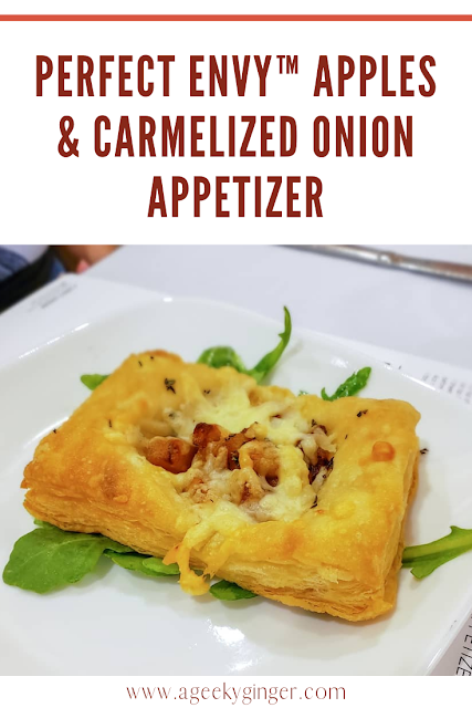 An apple and Carmelized onion pastry with the words above reading PERFECT ENVY™ APPLES & CARMELIZED ONION APPETIZER