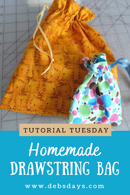 Homemade Quick and Easy Fabric Drawstring Gift Bags Sewing Project