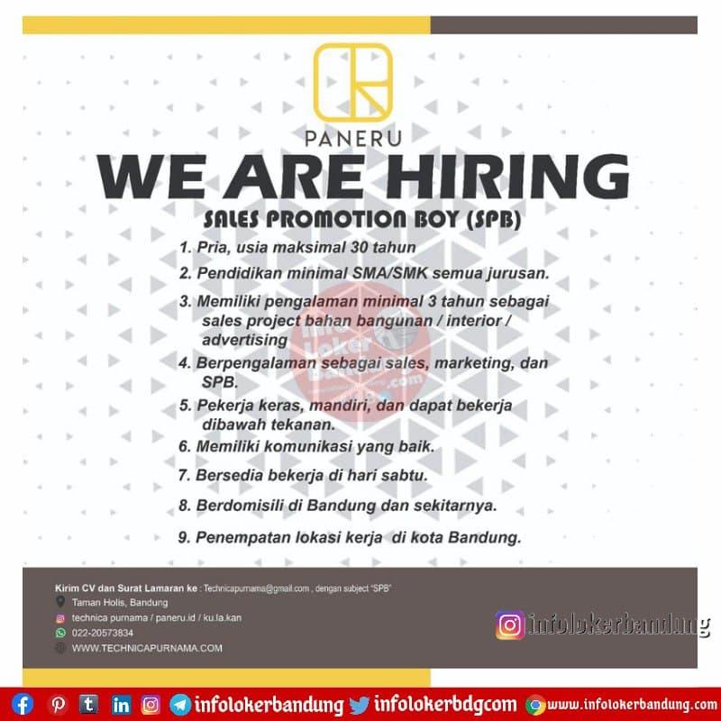Lowongan Kerja Sales Promotion Boy (SPB) Paneru Bandung April 2021
