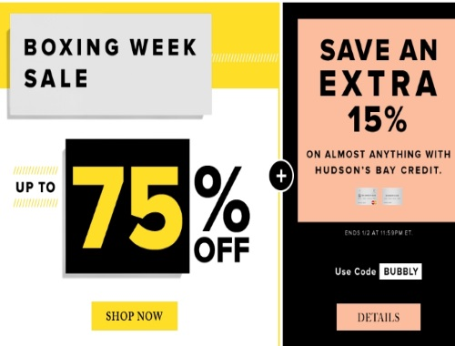 Hudson's Bay Boxing Week Sale Up To 75% Off + Extra 15% Off Promo Code