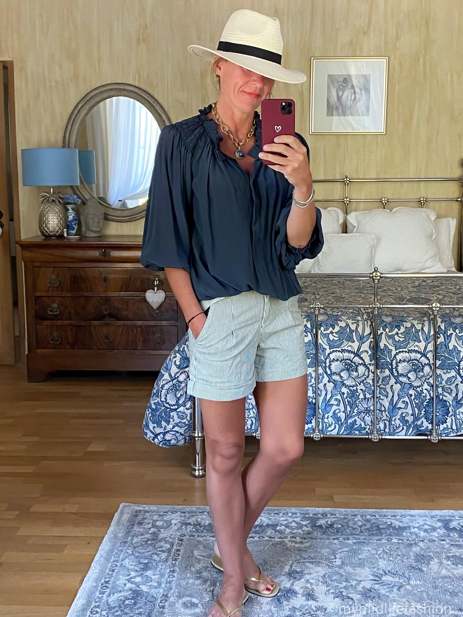 my midlife fashion, Great Plains cotton micro pinstripe shorts, Isabel Marant Etoile silk blouse, gold slim fit havaiana flip flops