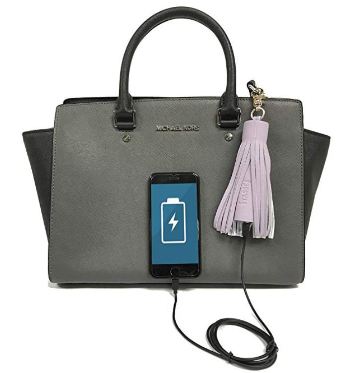 Vegan leather tassel power bank is a great stocking stuffer idea for her
