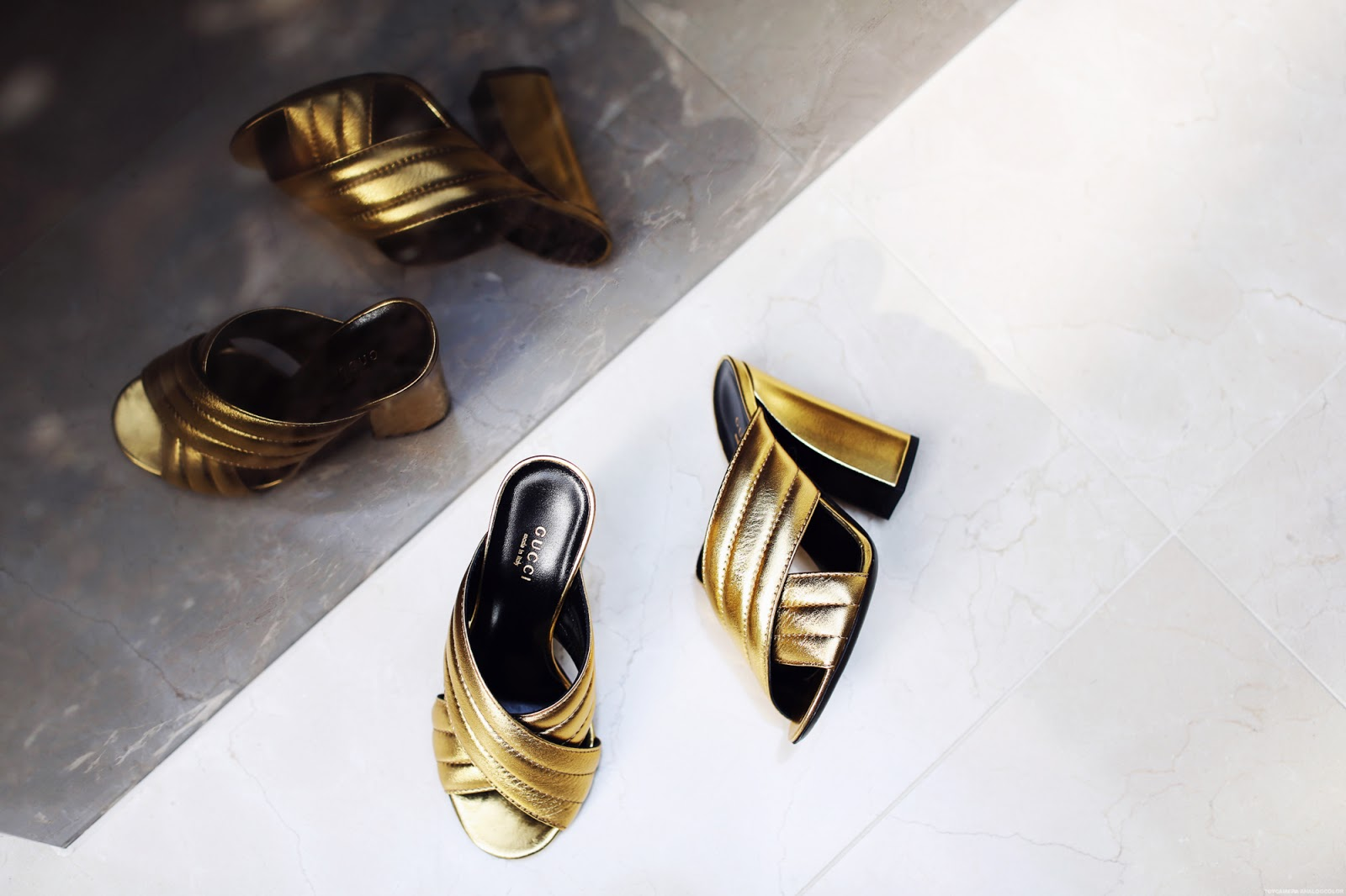 flatlay golden gucci mules 5 inch up fashion blogger