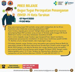 Press Release COVID-19 Tarakan 7 April 2020 - Tarakan Info