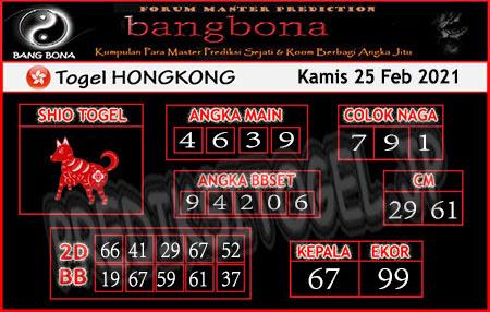 Prediksi Bangbona HK Kamis 25 Februari 2021