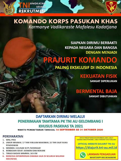 Terbaru, Penerimaan Tamtama Pasukah Khas TNI AU - TA 2020