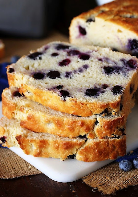 Stacked Slices of Buttermilk Blueberry Bread Image