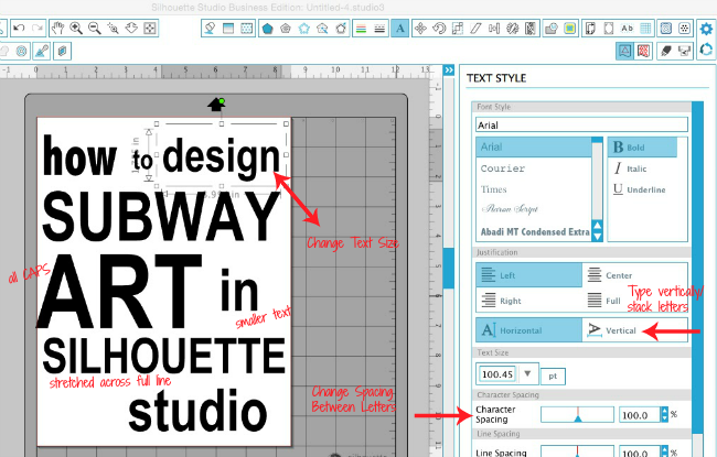 Secret to easily designing subway art in silhouette studio silhouette studio subway art text box fandeluxe Gallery