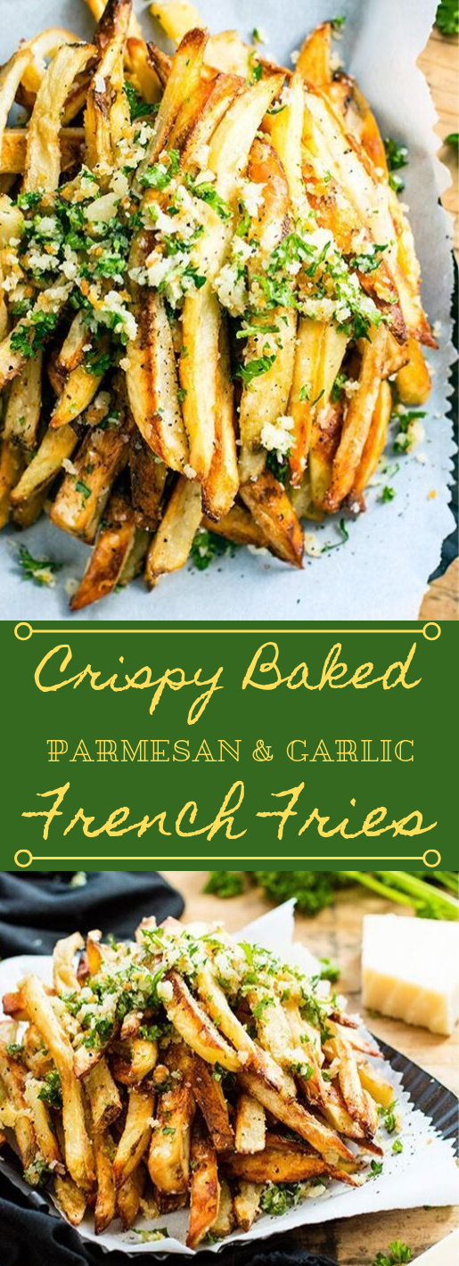 CRISPY BAKED PARMESAN GARLIC FRIES #parmesan #cauliflower #vegetarian #vegan #mushroom