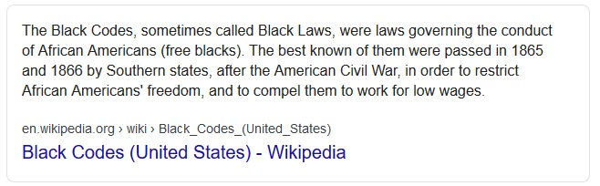 black codes black laws black acts